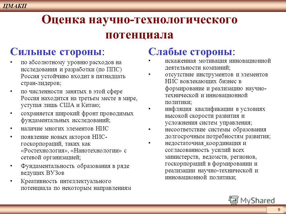 Оценка научно-технологического потенциала Сильные стороны: по абсолютному уровню расходов на исследования и разработки (по ППС) Россия устойчиво входит в пятнадцать стран-лидеров; по численности занятых в этой сфере Россия находится на третьем месте
