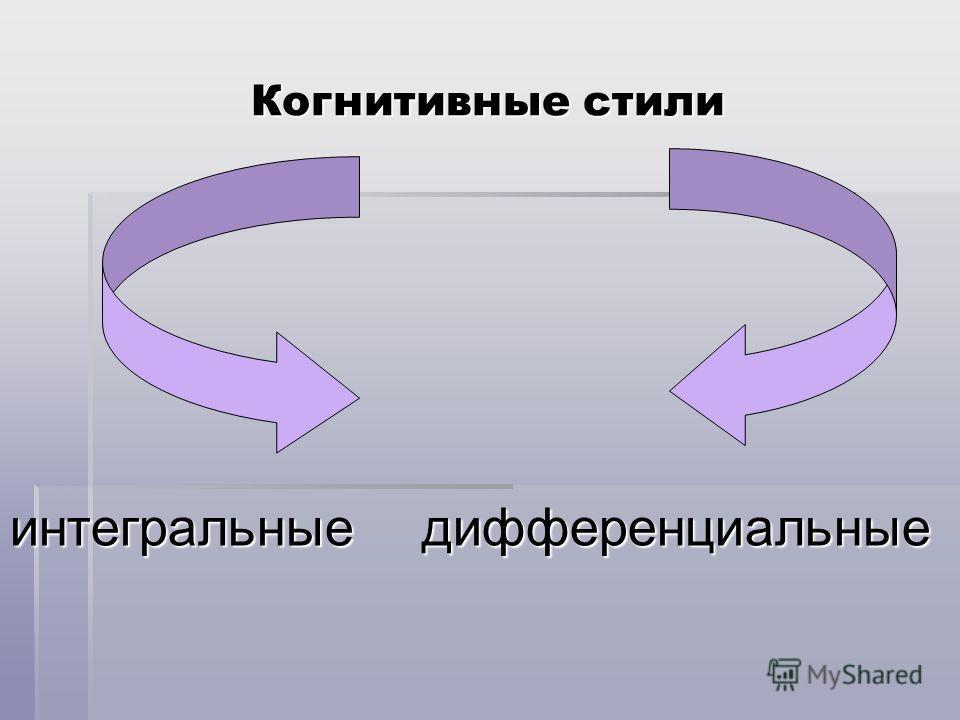 Когнитивные стили интегральныедифференциальные