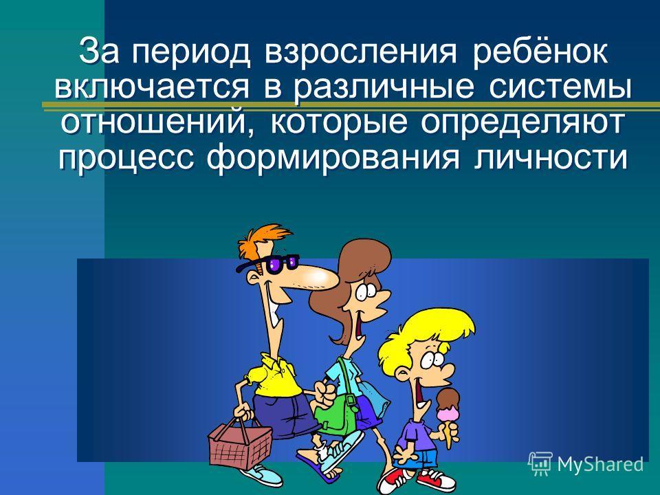 За период взросления ребёнок включается в различные системы отношений, которые определяют процесс формирования личности