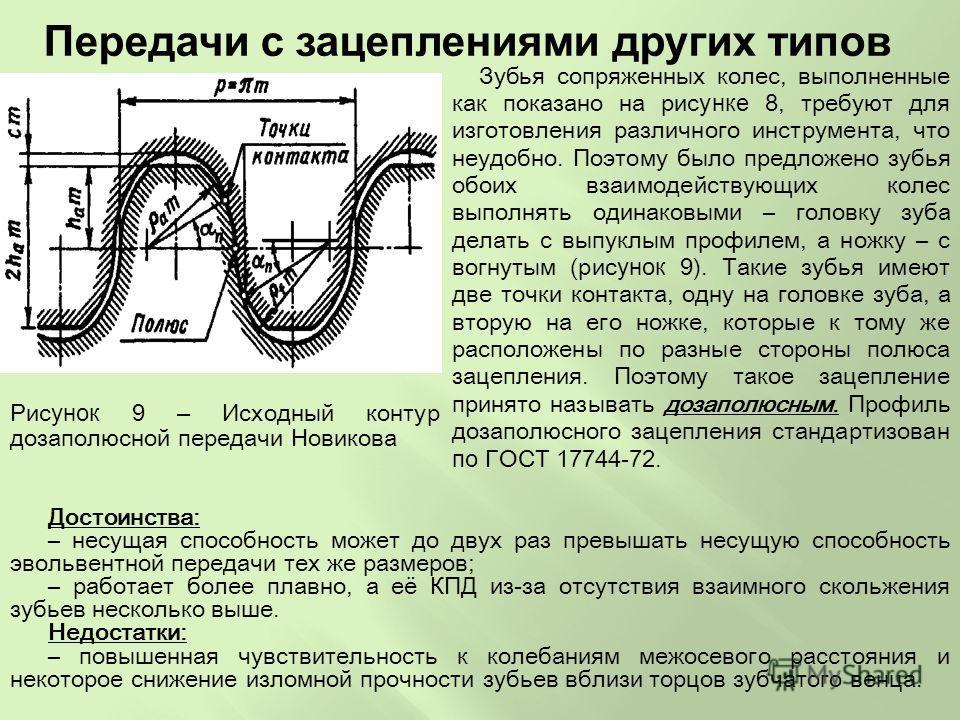 Рис унок 9 – Исходный контур дозаполюсной передачи Новикова Зубья сопряженных колес, выполненные как показано на рис унке 8, требуют для изготовления различного инструмента, что неудобно. Поэтому было предложено зубья обоих взаимодействующих колес вы