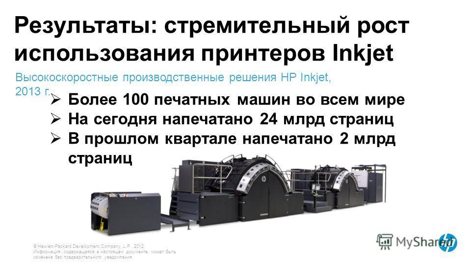 © Hewlett-Packard Development Company, L.P., 2012. Информация, содержащаяся в настоящем документе, может быть изменена без предварительного уведомления. Результаты: стремительный рост использования принтеров Inkjet Более 100 печатных машин во всем ми