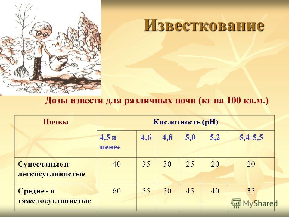 Известкование Дозы извести для различных почв (кг на 100 кв.м.) ПочвыКислотность (рН) 4,5 и менее 4,64,85,05,25,4-5,5 Супесчаные и легкосуглинистые 4035302520 Средне - и тяжелосуглинистые 605550454035