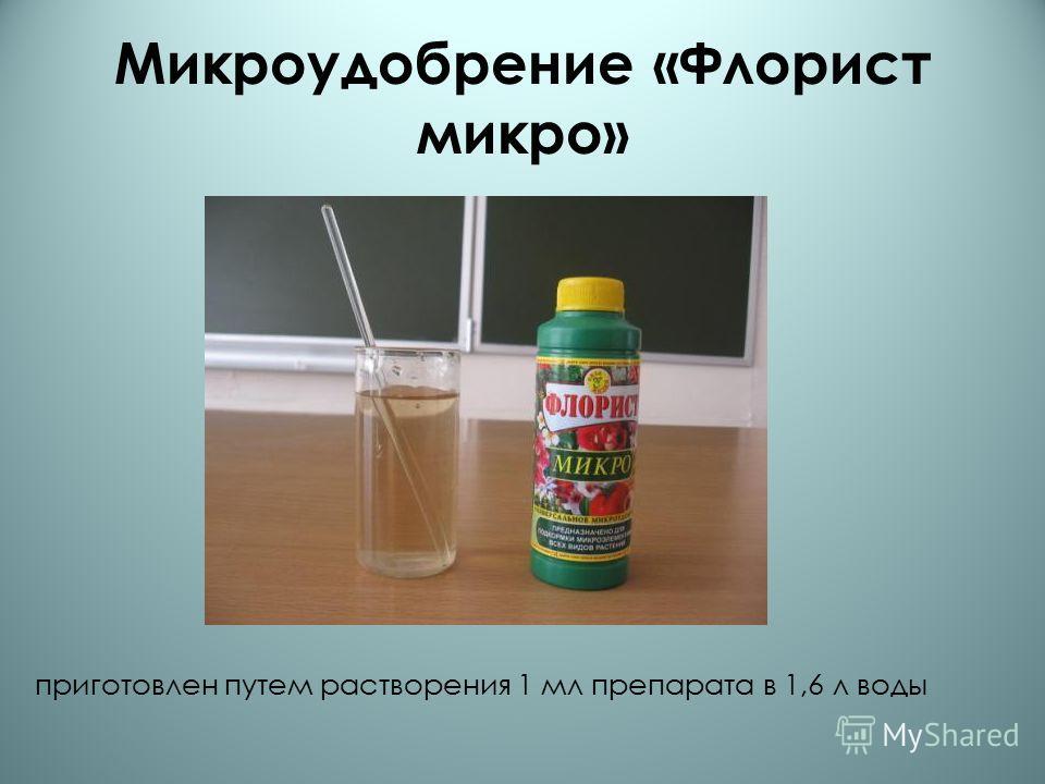 Микроудобрение «Флорист микро» приготовлен путем растворения 1 мл препарата в 1,6 л воды