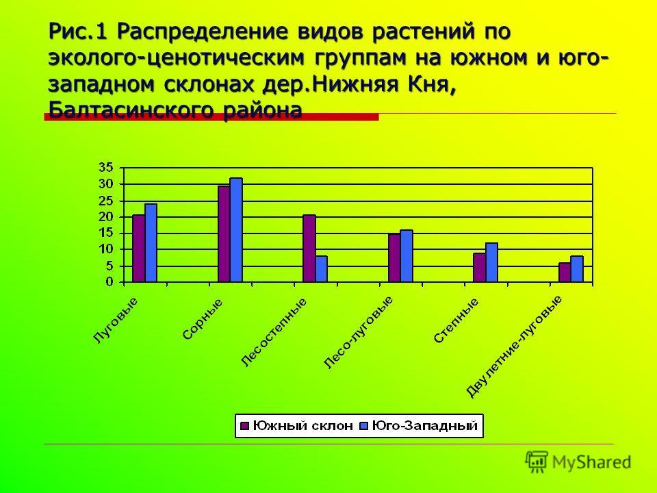 Рис.1 Распределение видов растений по эколого-ценотическим группам на южном и юго- западном склонах дер.Нижняя Кня, Балтасинского района