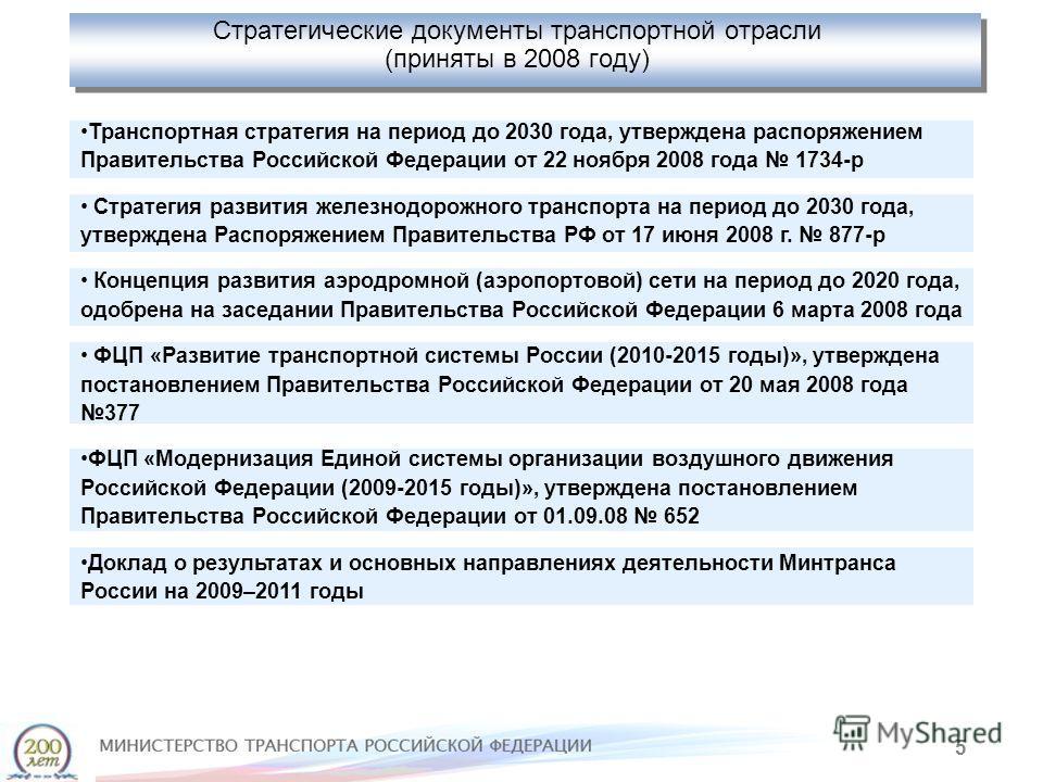 5 Стратегические документы транспортной отрасли (приняты в 2008 году) Транспортная стратегия на период до 2030 года, утверждена распоряжением Правительства Российской Федерации от 22 ноября 2008 года 1734-р Стратегия развития железнодорожного транспо