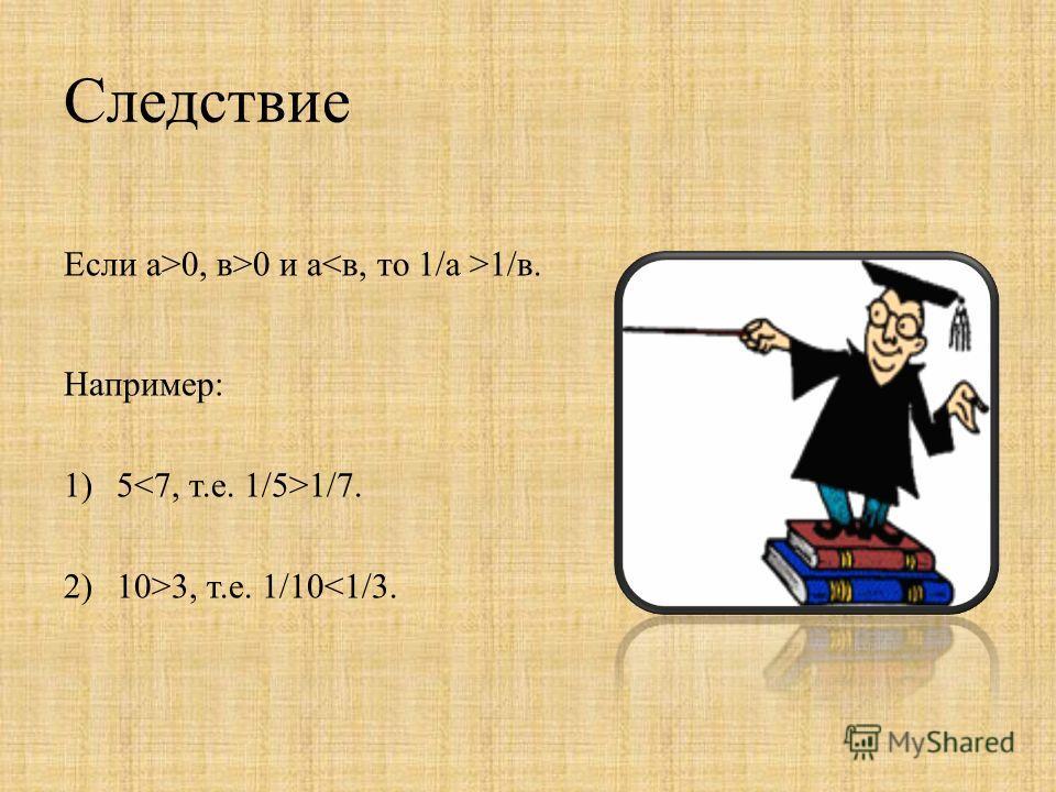 Следствие Если а>0, в>0 и а 1/в. Например: 1)5 1/7. 2)10>3, т.е. 1/10