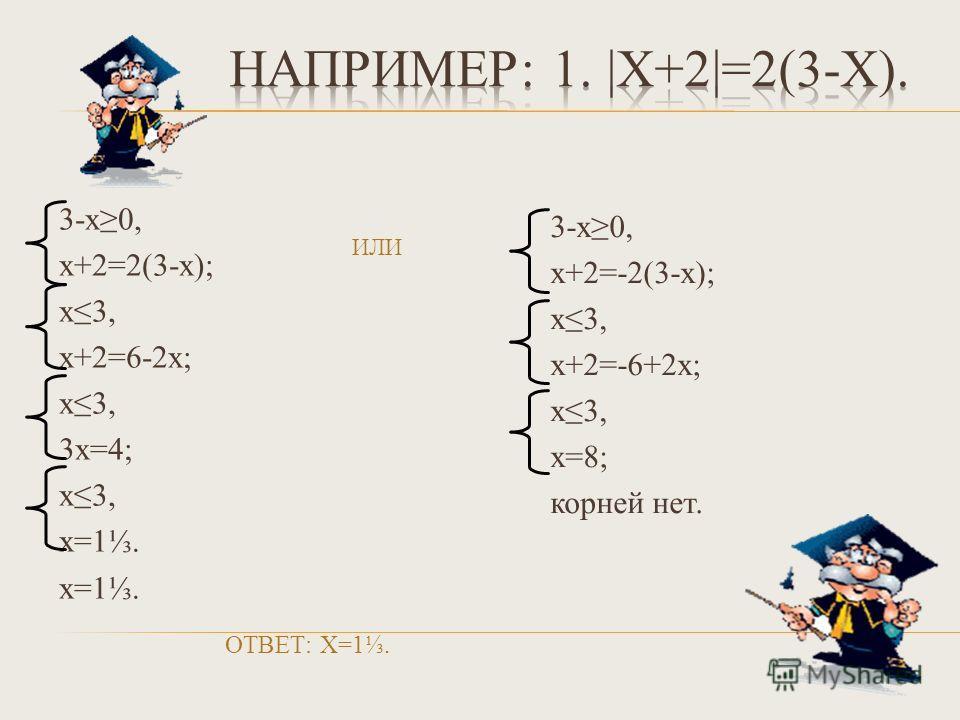 ИЛИ 3-х0, х+2=2(3-х); х3, х+2=6-2х; х3, 3х=4; х3, х=1. ОТВЕТ: Х=1. 3-х0, х+2=-2(3-х); х3, х+2=-6+2х; х3, х=8; корней нет.