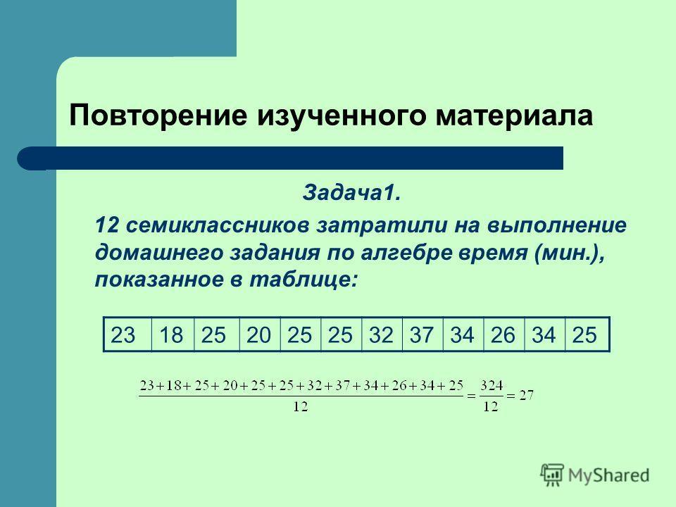 Повторение изученного материала Задача1. 12 семиклассников затратили на выполнение домашнего задания по алгебре время (мин.), показанное в таблице: 2318252025 323734263425