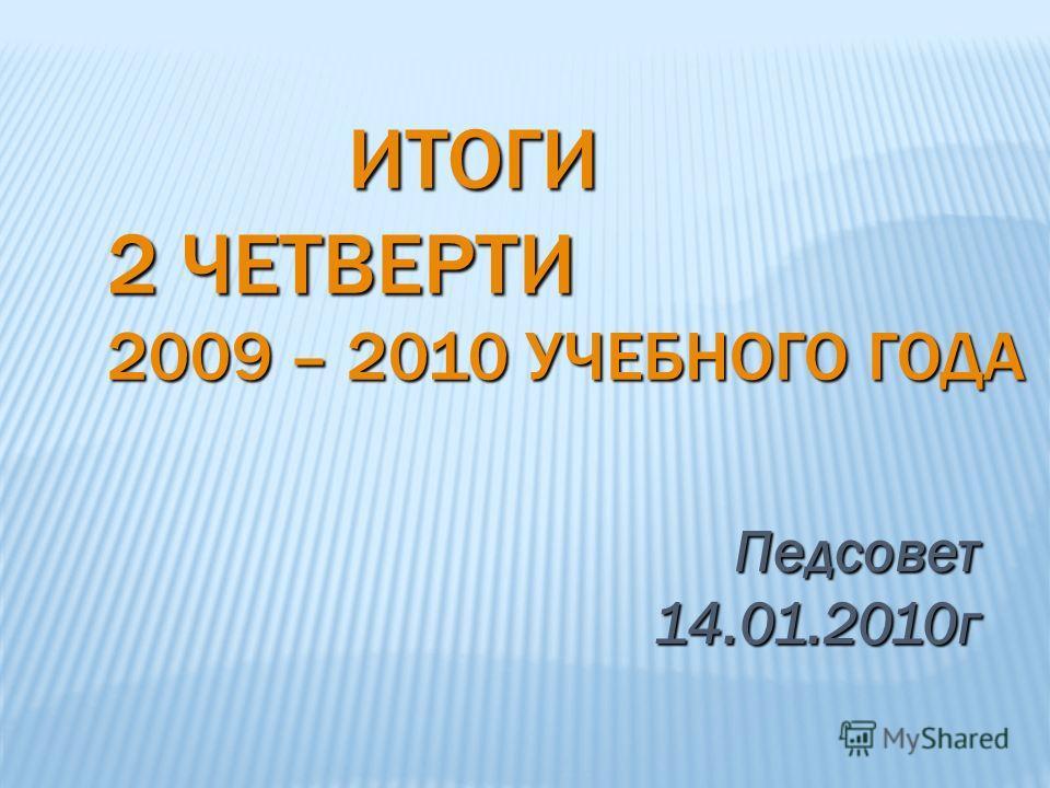 ИТОГИ 2 ЧЕТВЕРТИ 2009 – 2010 УЧЕБНОГО ГОДА ИТОГИ 2 ЧЕТВЕРТИ 2009 – 2010 УЧЕБНОГО ГОДА Педсовет 14.01.2010г