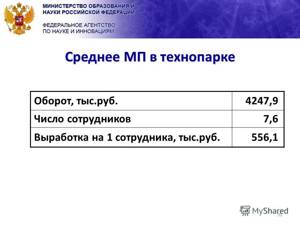30 Среднее МП в технопарке Оборот, тыс.руб.4247,9 Число сотрудников7,6 Выработка на 1 сотрудника, тыс.руб.556,1
