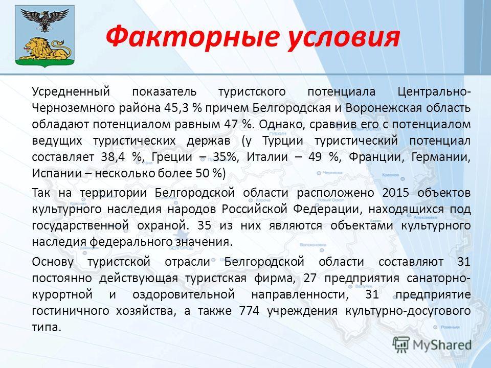 Факторные условия Усредненный показатель туристского потенциала Центрально- Черноземного района 45,3 % причем Белгородская и Воронежская область обладают потенциалом равным 47 %. Однако, сравнив его с потенциалом ведущих туристических держав (у Турци