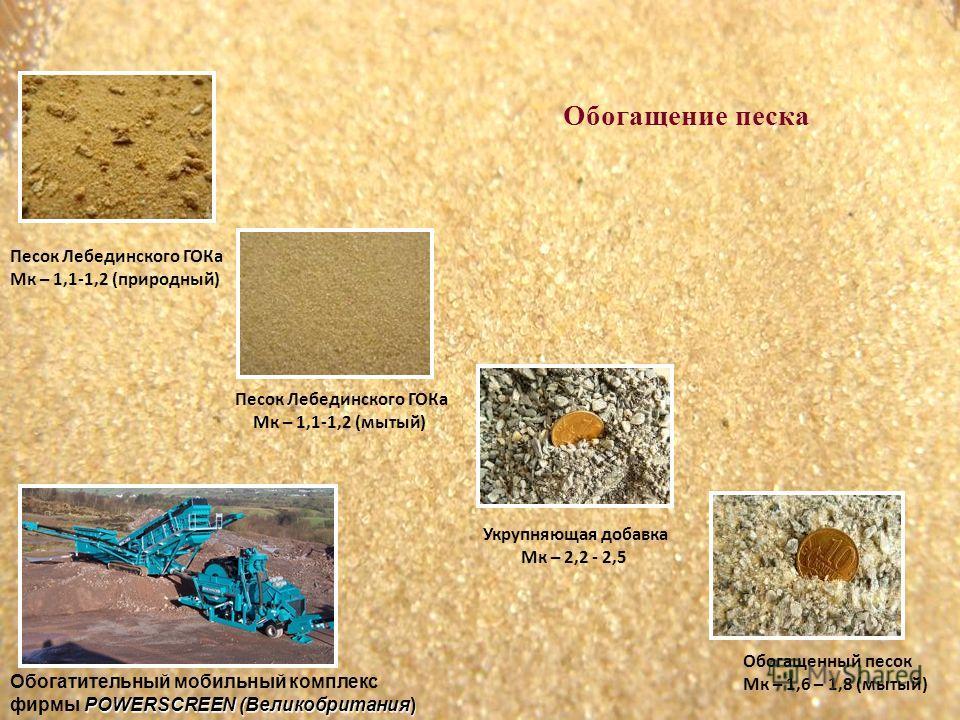 Песок Лебединского ГОКа Мк – 1,1-1,2 (природный) Песок Лебединского ГОКа Мк – 1,1-1,2 (мытый) Обогатительный мобильный комплекс POWERSCREEN (Великобритания) фирмы POWERSCREEN (Великобритания) Укрупняющая добавка Мк – 2,2 - 2,5 Обогащенный песок Мк –