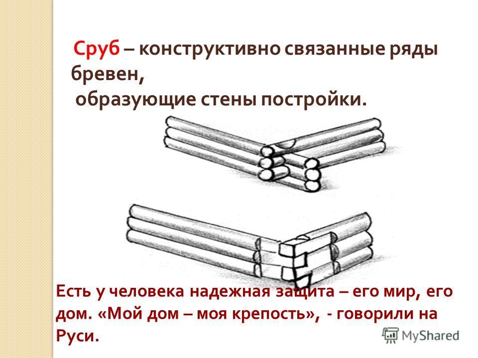 Сруб – конструктивно связанные ряды бревен, образующие стены постройки. Есть у человека надежная защита – его мир, его дом. «Мой дом – моя крепость», - говорили на Руси.
