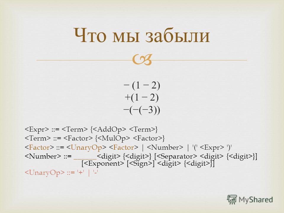 (1 2) +(1 2) ((3)) ::= { } ::= | | '(' ')' ::= ______ { } [ { }] [ [ ] { }] ::= '+' | '-' Что мы забыли