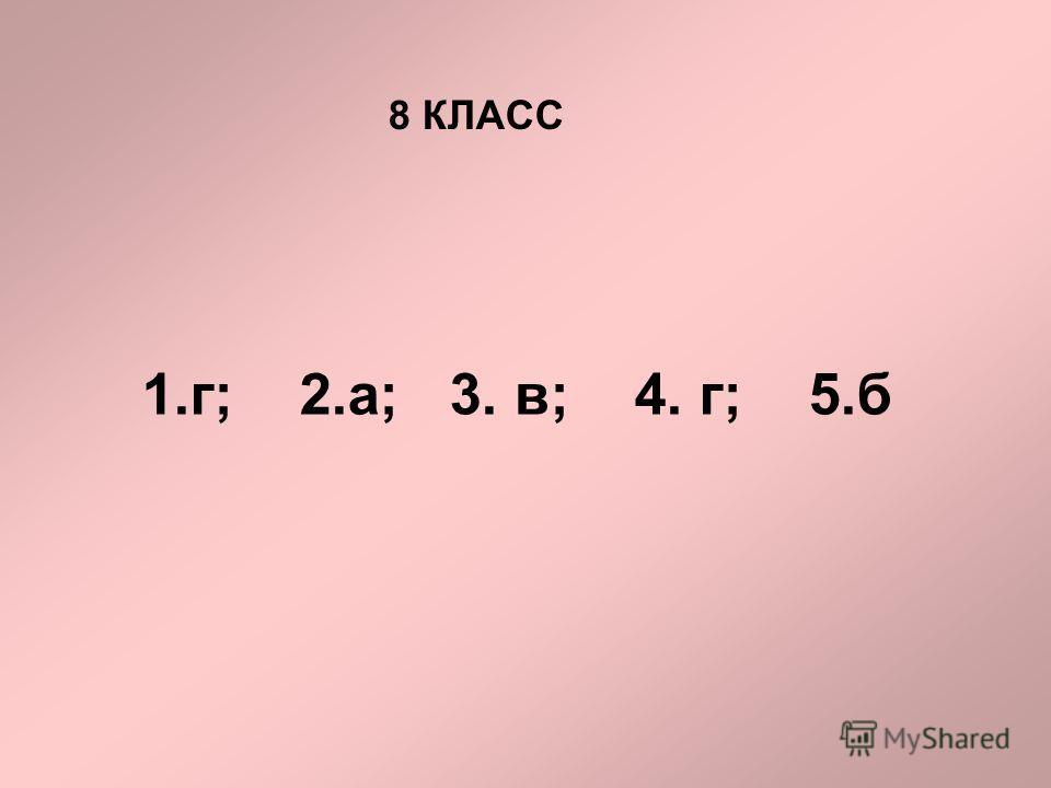 8 КЛАСС 1.г; 2.а; 3. в; 4. г; 5.б