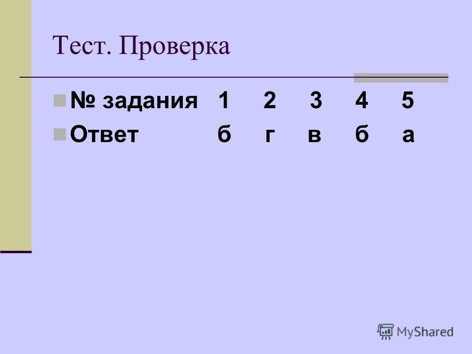 Тест. Проверка задания 1 2 3 4 5 Ответ б г в б а