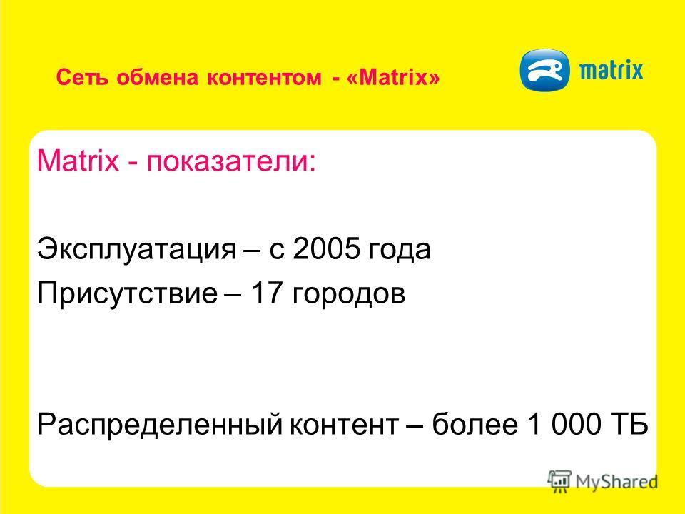 Сеть обмена контентом - «Matrix» Matrix - показатели: Эксплуатация – с 2005 года Присутствие – 17 городов Распределенный контент – более 1 000 ТБ