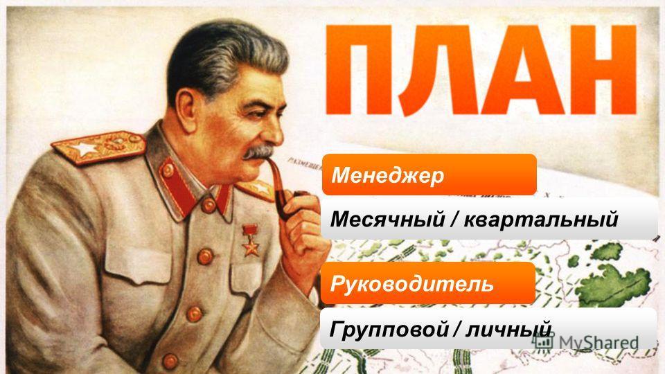Руководитель Менеджер Месячный / квартальный Групповой / личный