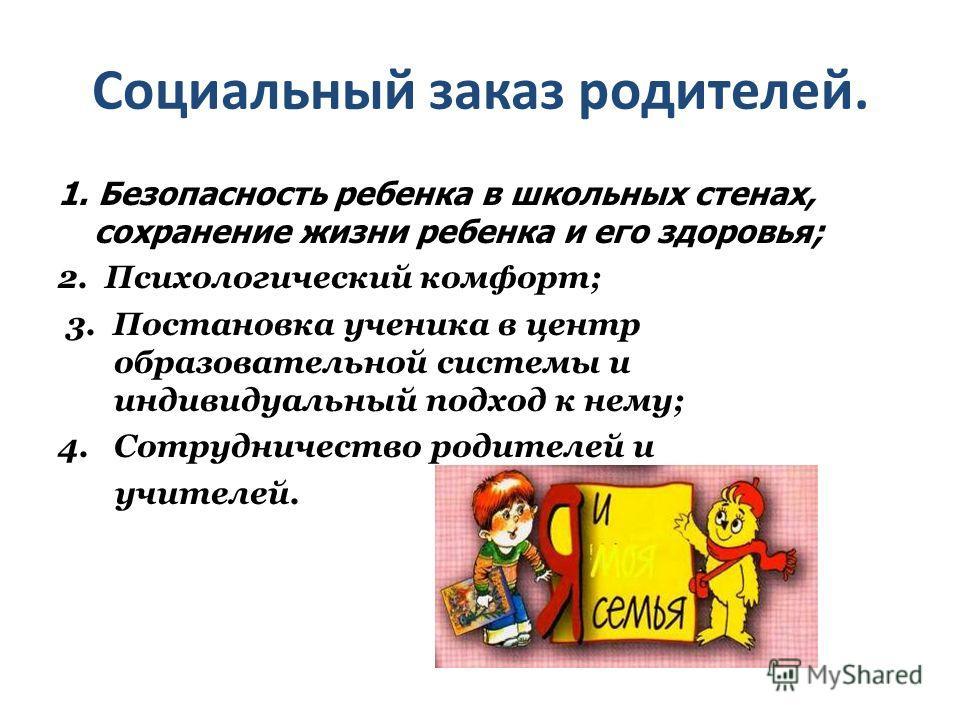 Социальный заказ родителей. 1. Безопасность ребенка в школьных стенах, сохранение жизни ребенка и его здоровья; 2. Психологический комфорт; 3. Постановка ученика в центр образовательной системы и индивидуальный подход к нему; 4. Сотрудничество родите