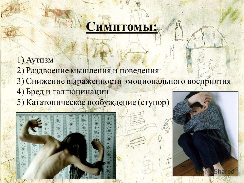 Симптомы: 1)Аутизм 2)Раздвоение мышления и поведения 3)Снижение выраженности эмоционального восприятия 4)Бред и галлюцинации 5)Кататоническое возбуждение (ступор)