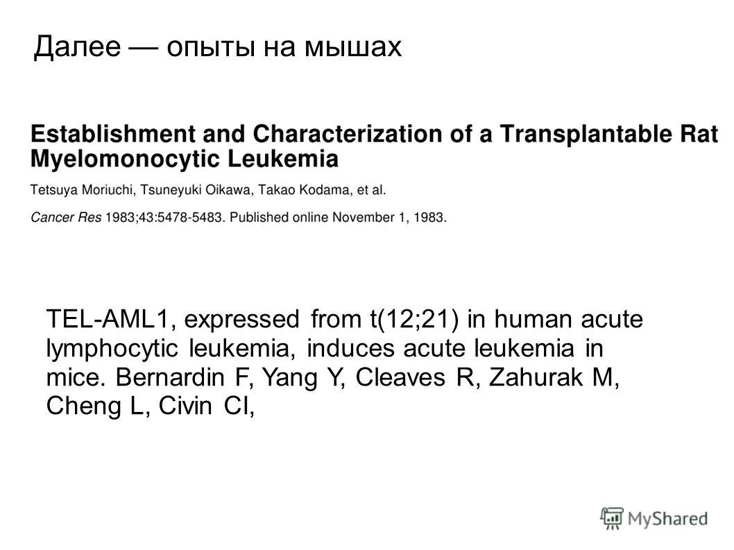 Далее опыты на мышах TEL-AML1, expressed from t(12;21) in human acute lymphocytic leukemia, induces acute leukemia in mice. Bernardin F, Yang Y, Cleaves R, Zahurak M, Cheng L, Civin CI,