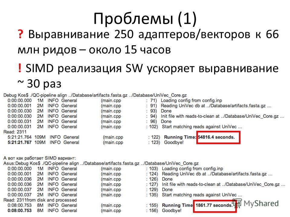 Проблемы (1) ? Выравнивание 250 адаптеров/векторов к 66 млн ридов – около 15 часов ! SIMD реализация SW ускоряет выравнивание ~ 30 раз