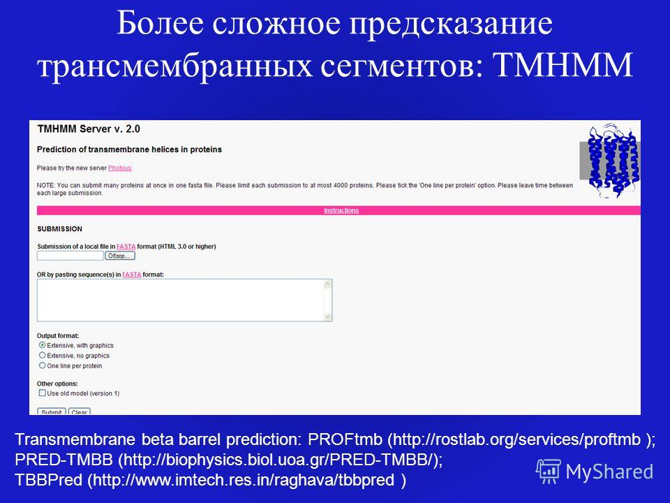 Более сложное предсказание трансмембранных сегментов: TMHMM Transmembrane beta barrel prediction: PROFtmb (http://rostlab.org/services/proftmb ); PRED-TMBB (http://biophysics.biol.uoa.gr/PRED-TMBB/); TBBPred (http://www.imtech.res.in/raghava/tbbpred