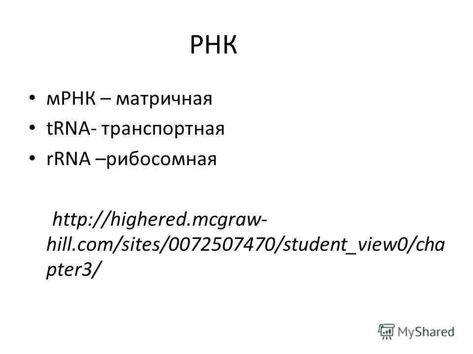 РНК мРНК – матричная tRNA- транспортная rRNA –рибосомная http://highered.mcgraw- hill.com/sites/0072507470/student_view0/cha pter3/