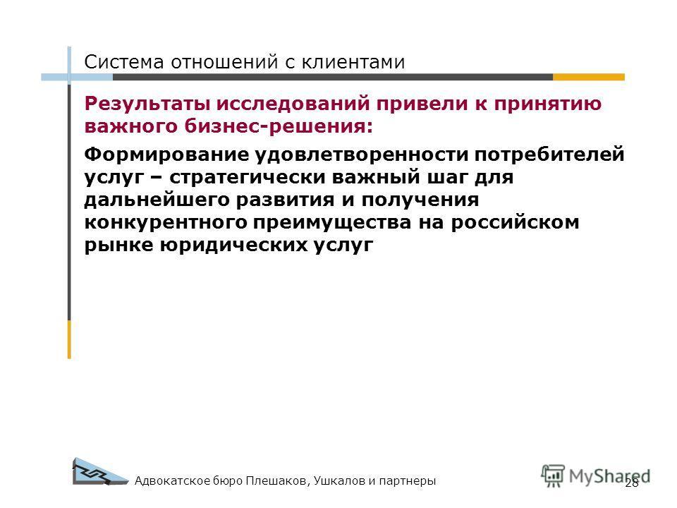 Адвокатское бюро Плешаков, Ушкалов и партнеры 28 Результаты исследований привели к принятию важного бизнес-решения: Формирование удовлетворенности потребителей услуг – стратегически важный шаг для дальнейшего развития и получения конкурентного преиму