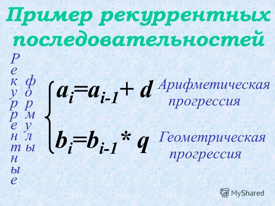 Рекуррентное соотношение – формула, выражающая очередной член последовательности через один или несколько предыдущих.