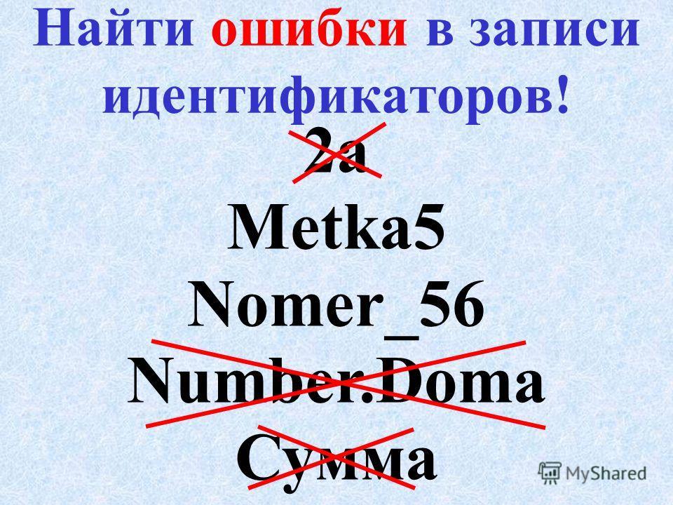 Правила записи имен Для обозначения различных объектов в программе используются имена - и дентификаторы. И мя – уникально, не содержит русских букв, спец. символов (кроме _ ), пробелов И мя начинается с буквы или _ (исключение – имя метки) М ax длина