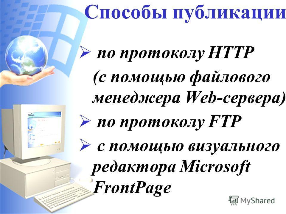 – это размещение Web-сайта на Web-сервере. Хостинг (Hosting) Распространённые бесплатные серверы: www.narod.ru www.newmail.ru www.chat.ru