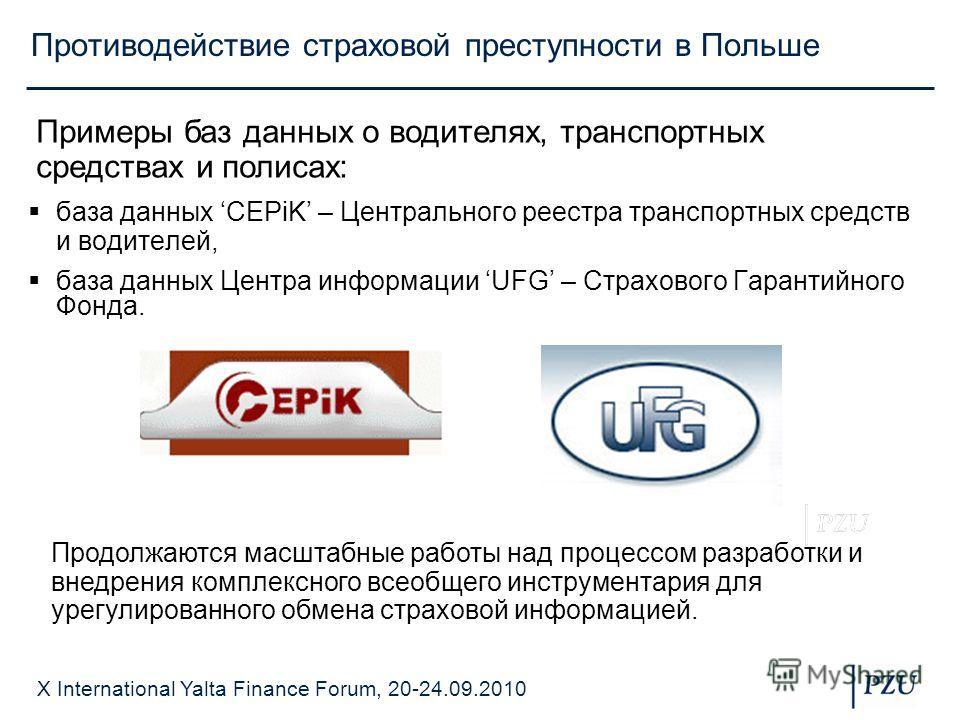 X International Yalta Finance Forum, 20-24.09.2010 Противодействие страховой преступности в Польше база данных CEPiK – Центрального реестра транспортных средств и водителей, база данных Центра информации UFG – Страхового Гарантийного Фонда. Примеры б