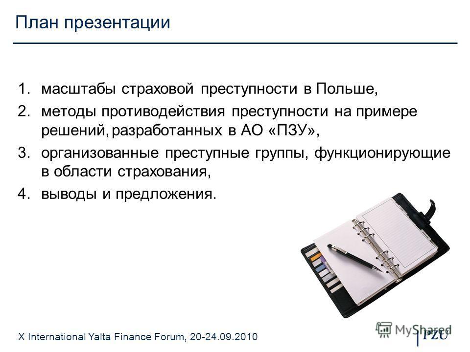 X International Yalta Finance Forum, 20-24.09.2010 План презентации 1.масштабы страховой преступности в Польше, 2.методы противодействия преступности на примере решений,разработанных в АО «ПЗУ», 3.организованные преступные группы, функционирующие в о