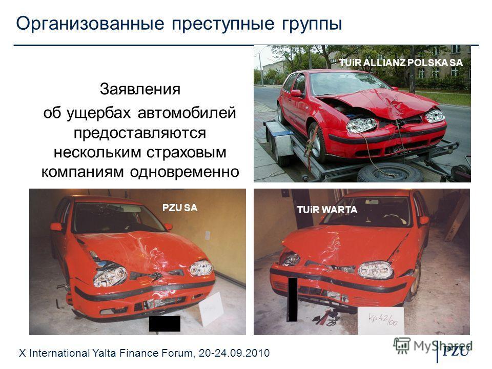 X International Yalta Finance Forum, 20-24.09.2010 Организованные преступные группы Заявления об ущербах автомобилей предоставляются нескольким страховым компаниям одновременно PZU SA TUiR ALLIANZ POLSKA SA TUiR WARTA