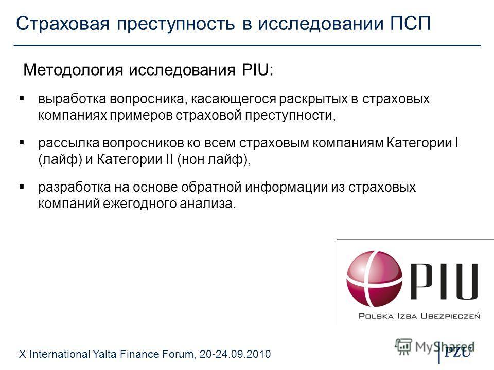 X International Yalta Finance Forum, 20-24.09.2010 Страховая преступность в исследовании ПСП Методология исследования PIU: выработка вопросника, касающегося раскрытых в страховых компаниях примеров страховой преступности, рассылка вопросников ко всем
