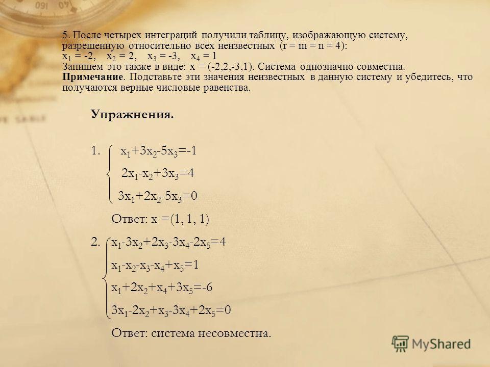 5. После четырех интеграций получили таблицу, изображающую систему, разрешенную относительно всех неизвестных (r = m = n = 4): x 1 = -2, x 2 = 2, x 3 = -3, x 4 = 1 Запишем это также в виде: x = (-2,2,-3,1). Система однозначно совместна. Примечание. П