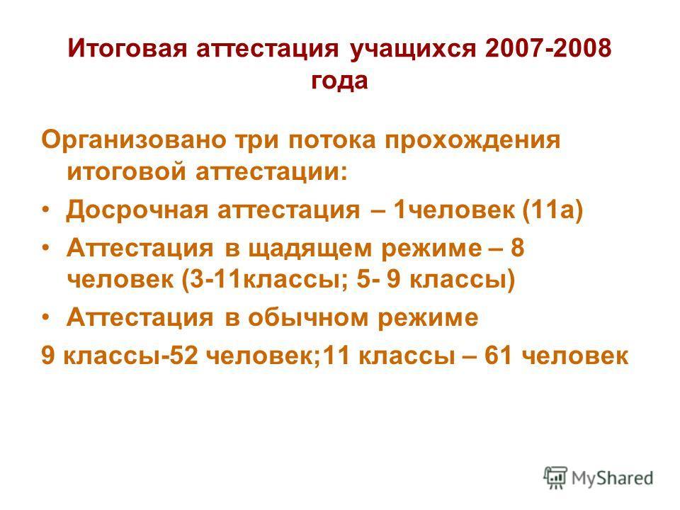 Итоговая аттестация учащихся 2007-2008 года Организовано три потока прохождения итоговой аттестации: Досрочная аттестация – 1человек (11а) Аттестация в щадящем режиме – 8 человек (3-11классы; 5- 9 классы) Аттестация в обычном режиме 9 классы-52 челов