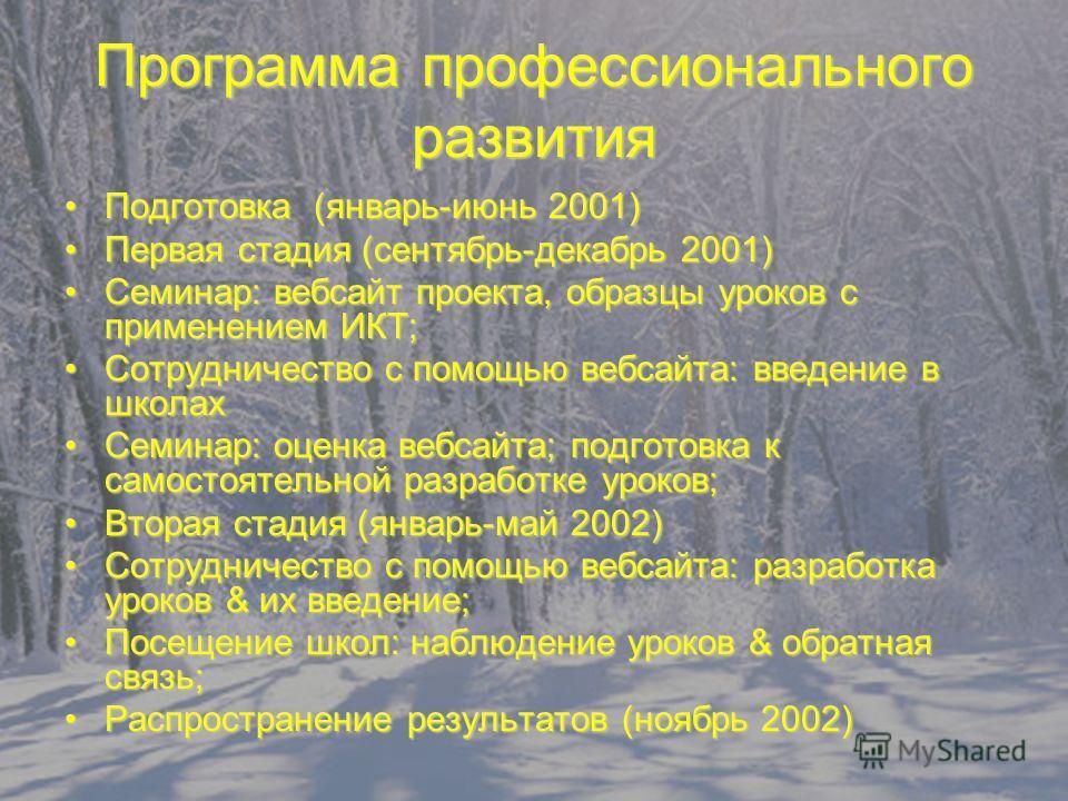 Программа профессионального развития Подготовка (январь-июнь 2001)Подготовка (январь-июнь 2001) Первая стадия (сентябрь-декабрь 2001)Первая стадия (сентябрь-декабрь 2001) Семинар: вебсайт проекта, образцы уроков с применением ИКТ;Семинар: вебсайт про