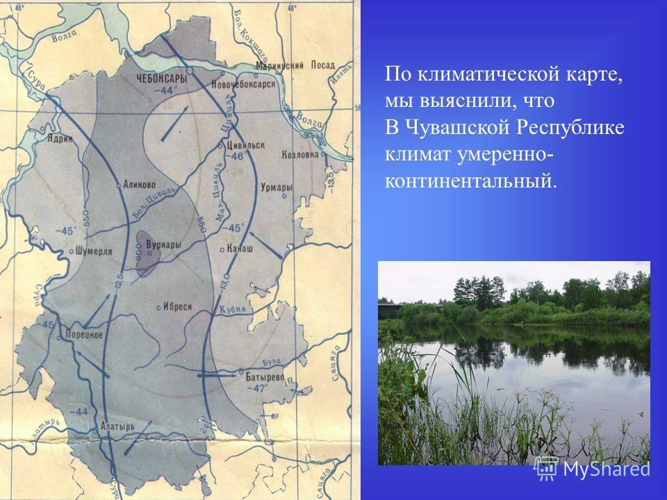 По климатической карте, мы выяснили, что В Чувашской Республике климат умеренно- континентальный.
