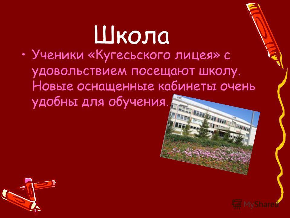 Школа Ученики «Кугесьского лицея» с удовольствием посещают школу. Новые оснащенные кабинеты очень удобны для обучения.