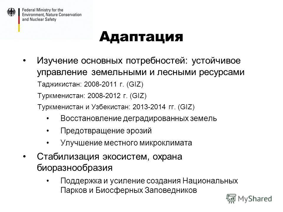 Адаптация Изучение основных потребностей: устойчивое управление земельными и лесными ресурсами Таджикистан: 2008-2011 г. (GIZ) Туркменистан: 2008-2012 г. (GIZ) Туркменистан и Узбекистан: 2013-2014 гг. (GIZ) Восстановление деградированных земель Предо