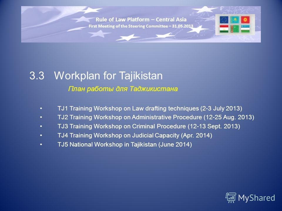 3.3Workplan for Tajikistan План работы для Таджикистана TJ1 Training Workshop on Law drafting techniques (2-3 July 2013) TJ2 Training Workshop on Administrative Procedure (12-25 Aug. 2013) TJ3 Training Workshop on Criminal Procedure (12-13 Sept. 2013