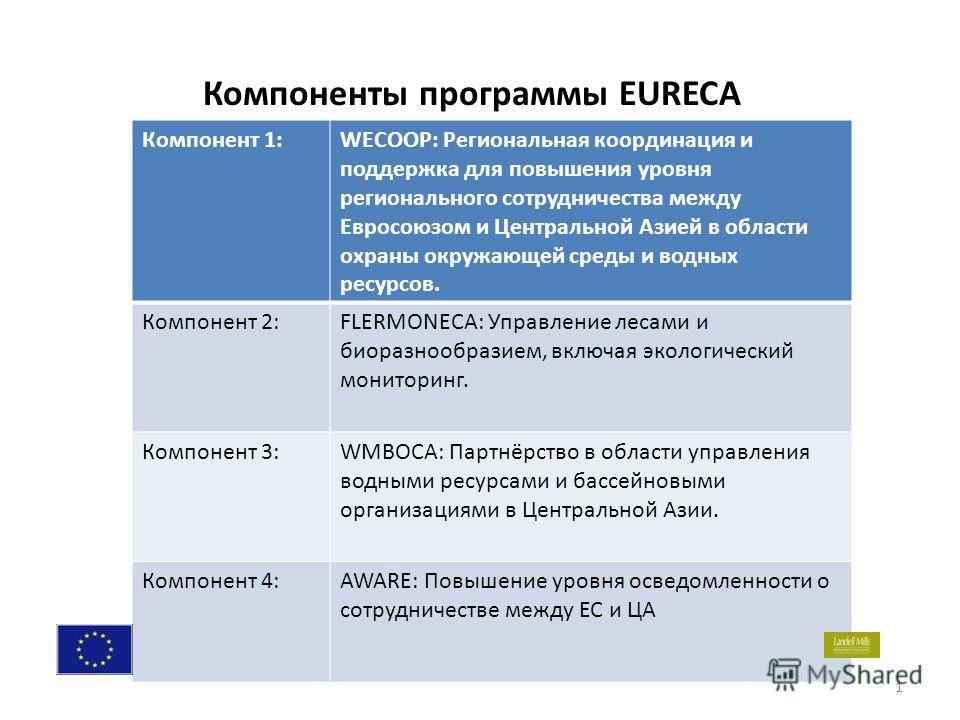. 1 Компоненты программы EURECA Компонент 1:WECOOP: Региональная координация и поддержка для повышения уровня регионального сотрудничества между Евросоюзом и Центральной Азией в области охраны окружающей среды и водных ресурсов. Компонент 2:FLERMONEC
