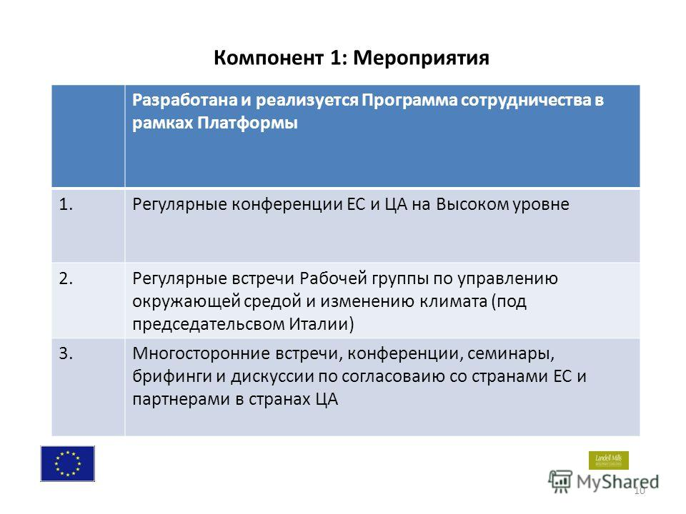 10 Разработана и реализуется Программа сотрудничества в рамках Платформы 1.Регулярные конференции ЕС и ЦА на Высоком уровне 2.Регулярные встречи Рабочей группы по управлению окружающей средой и изменению климата (под председательсвом Италии) 3.Многос