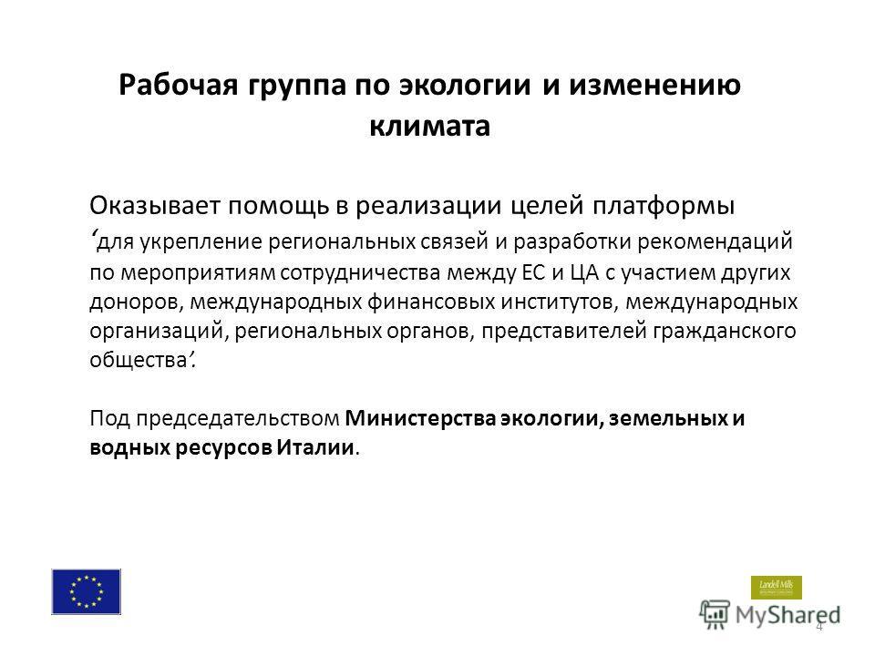 4 Оказывает помощь в реализации целей платформы для укрепление региональных связей и разработки рекомендаций по мероприятиям сотрудничества между ЕС и ЦА с участием других доноров, международных финансовых институтов, международных организаций, регио