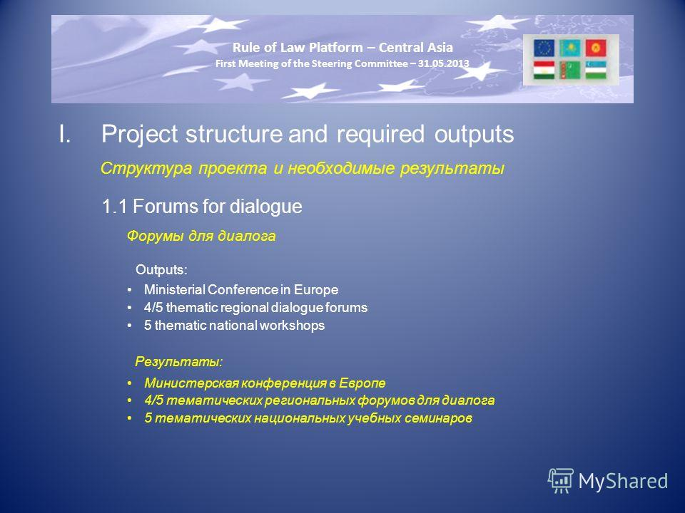 I.Project structure and required outputs Структура проекта и необходимые результаты 1.1 Forums for dialogue Форумы для диалога Outputs: Ministerial Conference in Europe 4/5 thematic regional dialogue forums 5 thematic national workshops Результаты: М