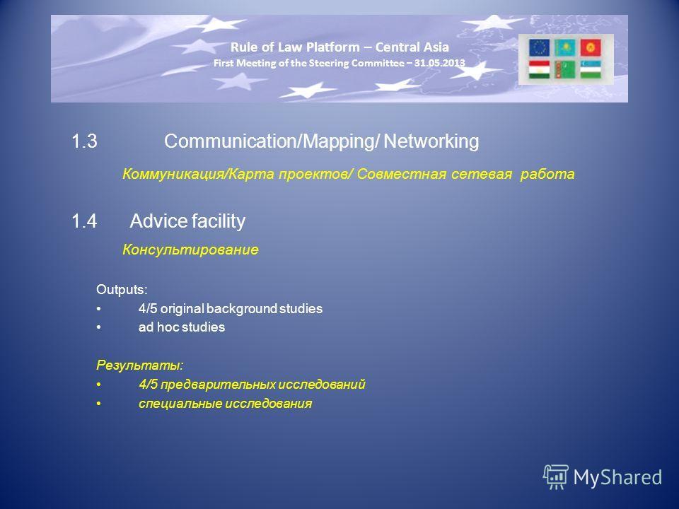 1.3Communication/Mapping/ Networking Коммуникация/Карта проектов/ Совместная сетевая работа 1.4Advice facility Консультирование Outputs: 4/5 original background studies ad hoc studies Результаты: 4/5 предварительных исследований специальные исследова