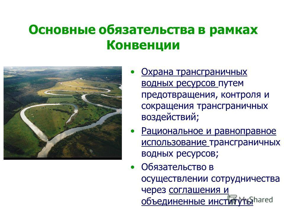 Основные обязательства в рамках Конвенции Охрана трансграничных водных ресурсов путем предотвращения, контроля и сокращения трансграничных воздействий; Рациональное и равноправное использование трансграничных водных ресурсов; Обязательство в осуществ