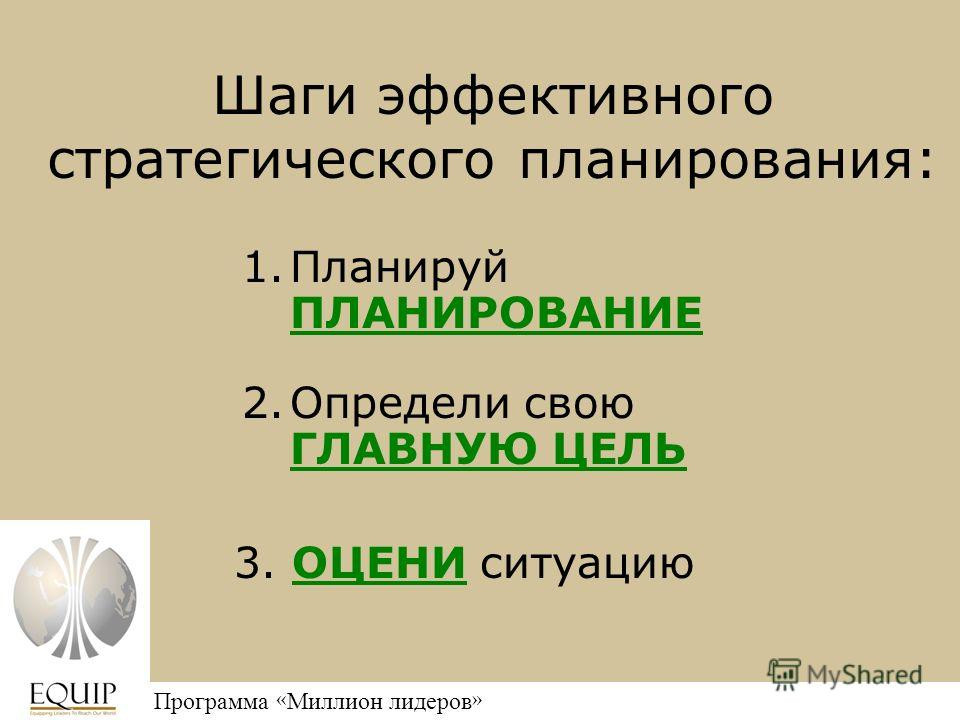 Million Leaders Mandate Программа « Миллион лидеров » 1.Планируй ПЛАНИРОВАНИЕ Шаги эффективного стратегического планирования: 2.Определи свою ГЛАВНУЮ ЦЕЛЬ 3. ОЦЕНИ ситуацию